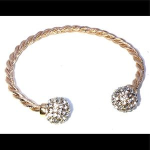 White Crystal Gold Tone Cuff Bracelet